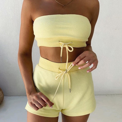 Crop Top & Hot Pants Set - Yellow
