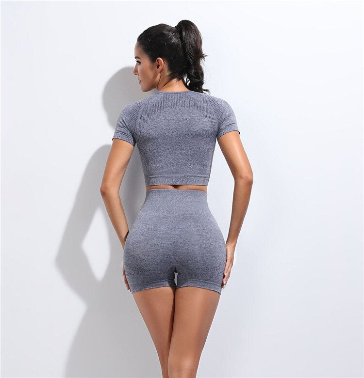 2 Piece Contour Crop Top & Shorts Set - Dark Grey