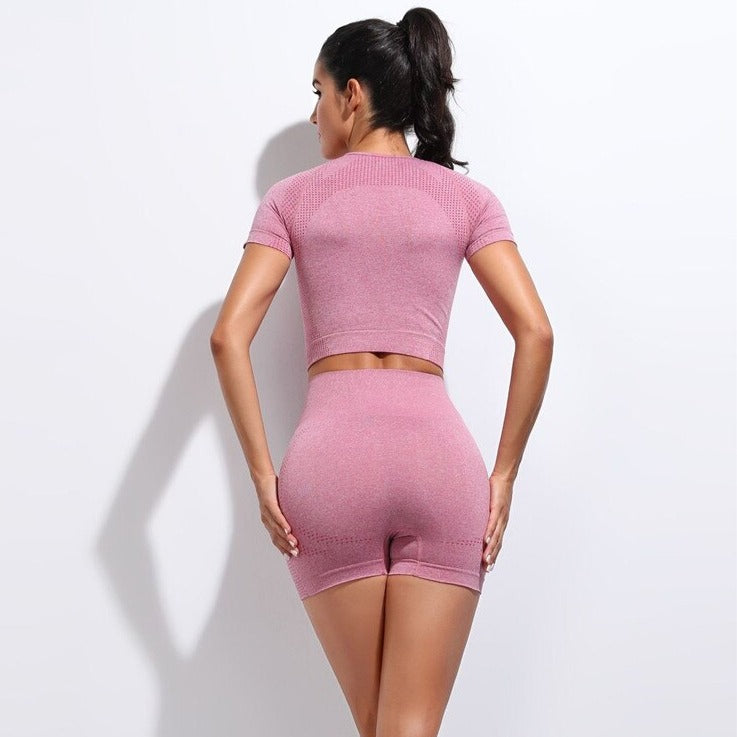 2 Piece Contour Crop Top & Shorts Set - Pink