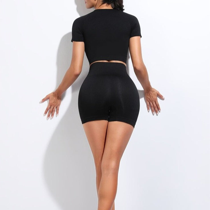 2 Piece Contour Crop Top & Shorts Set - Black