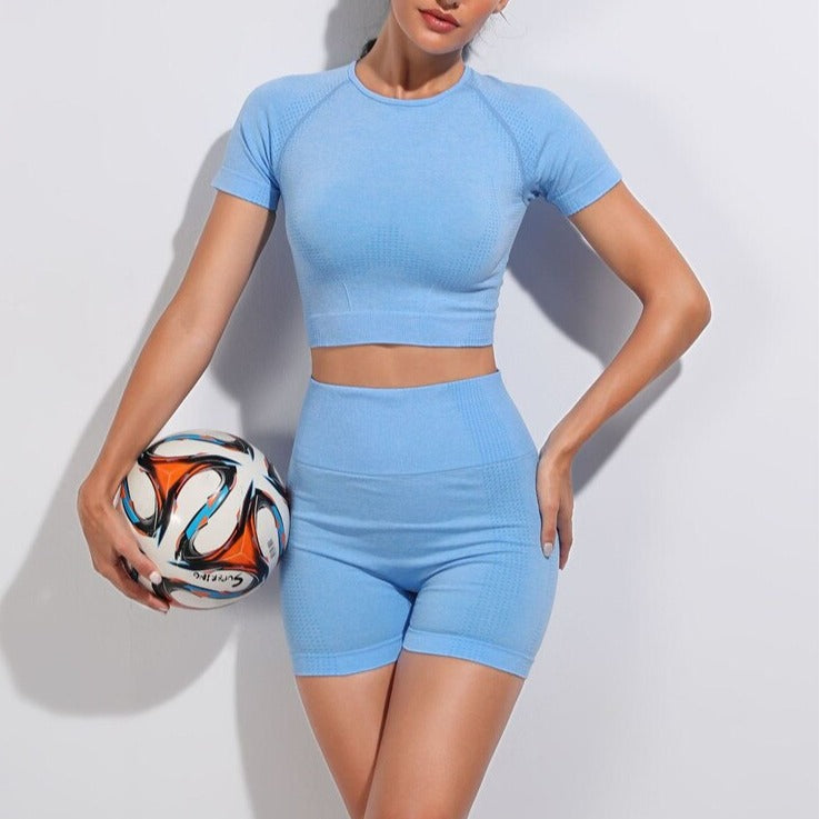2 Piece Contour Crop Top & Shorts Set - Blue