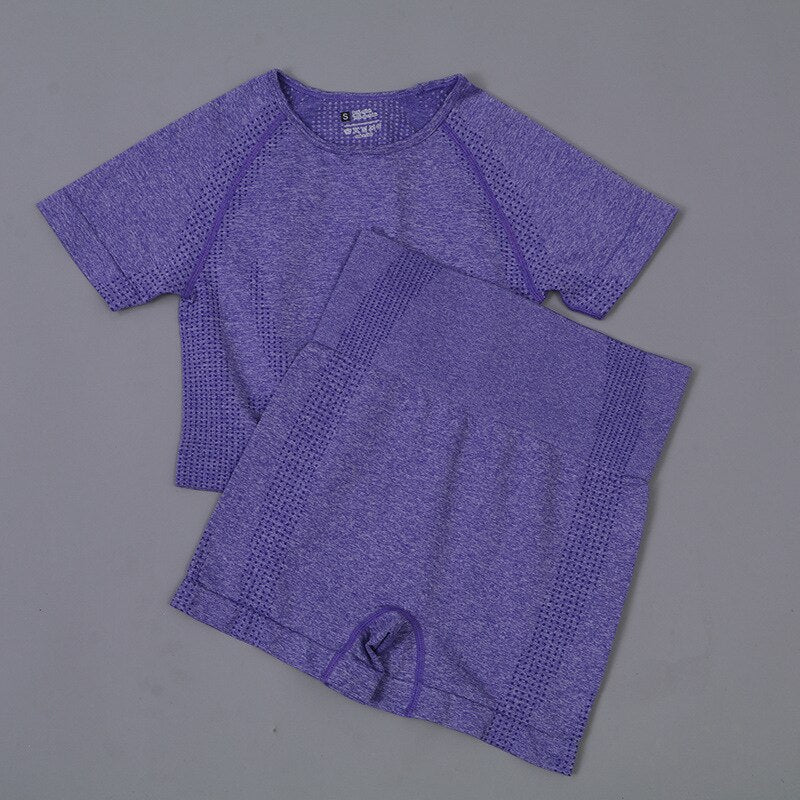 2 Piece Contour Crop Top & Shorts Set - Purple