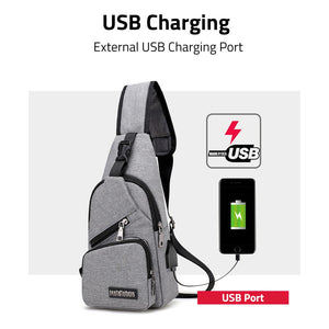 [Ready Stock]USB Charging Canvas Men Unisex Crossbody Shoulder Sling Bag