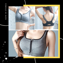 Load image into Gallery viewer, Anti -Vibration Racerback Gym Fitness Zipper Zip Sport Bra