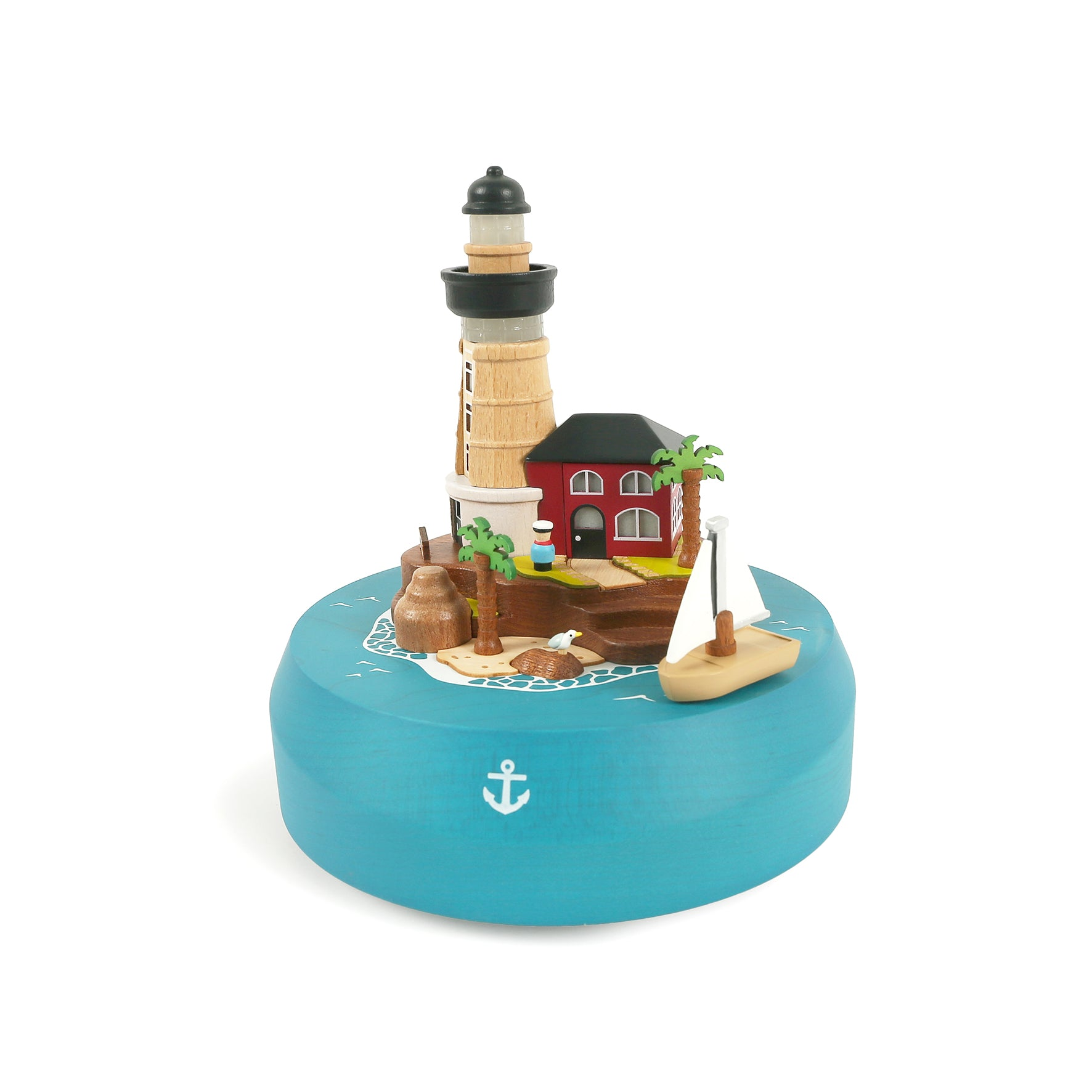 Caja Musical Wooderful life - lámpara Wooden Animated Sailboat and Lighthouse (faro)