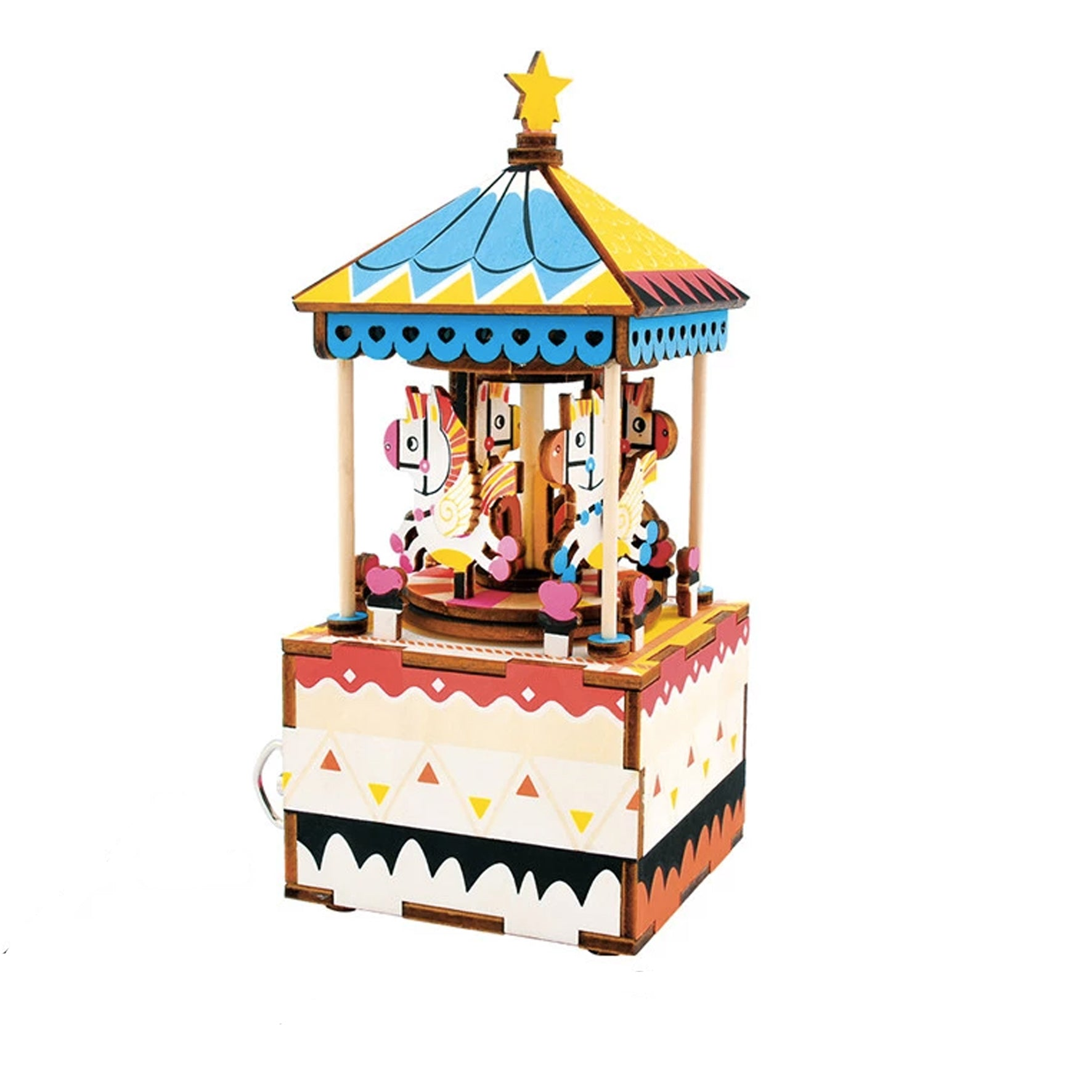Puzzle 3D madera Robotime – Merry Go Round MB caja musical