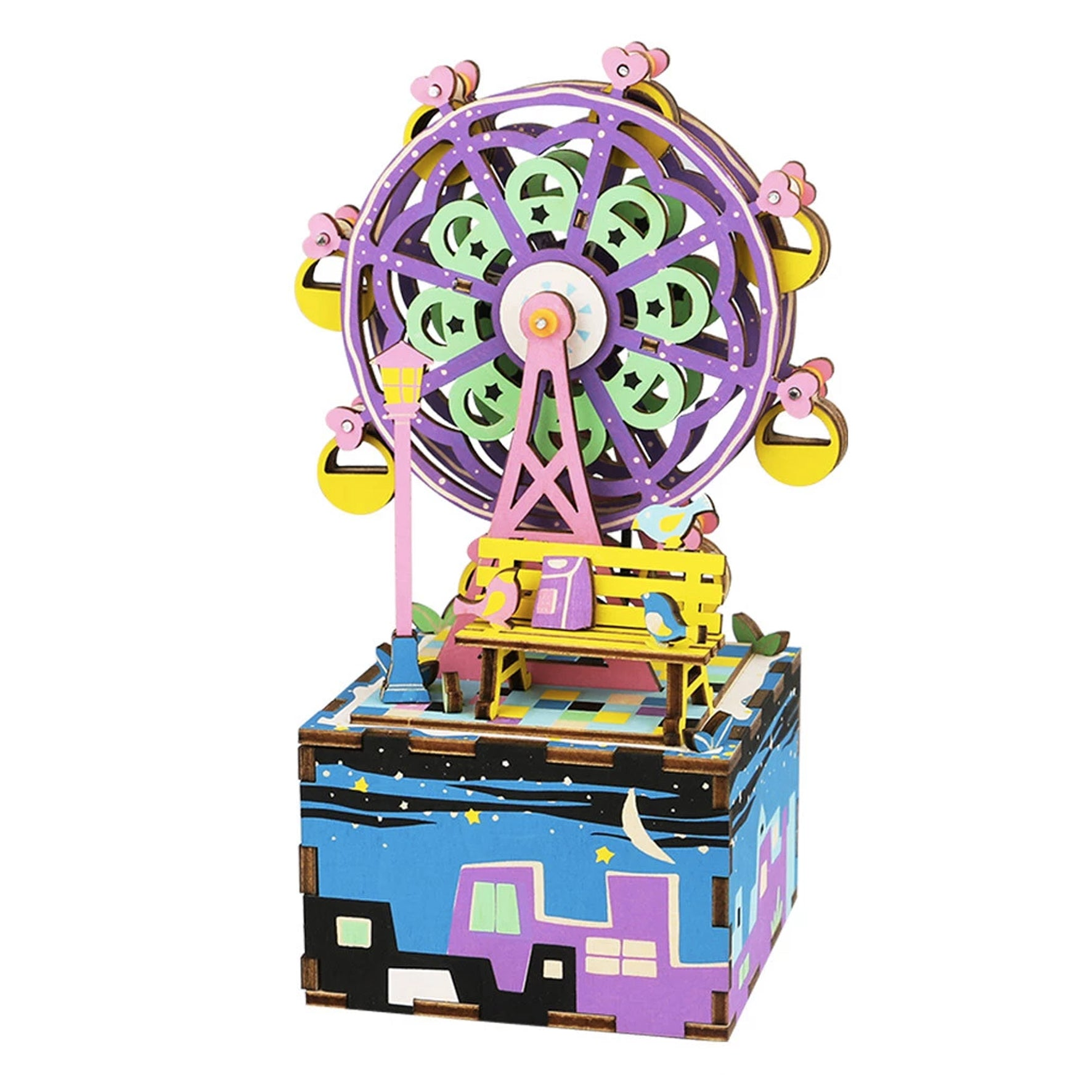Puzzle 3D madera Robotime – Ferris Wheel MB caja musical