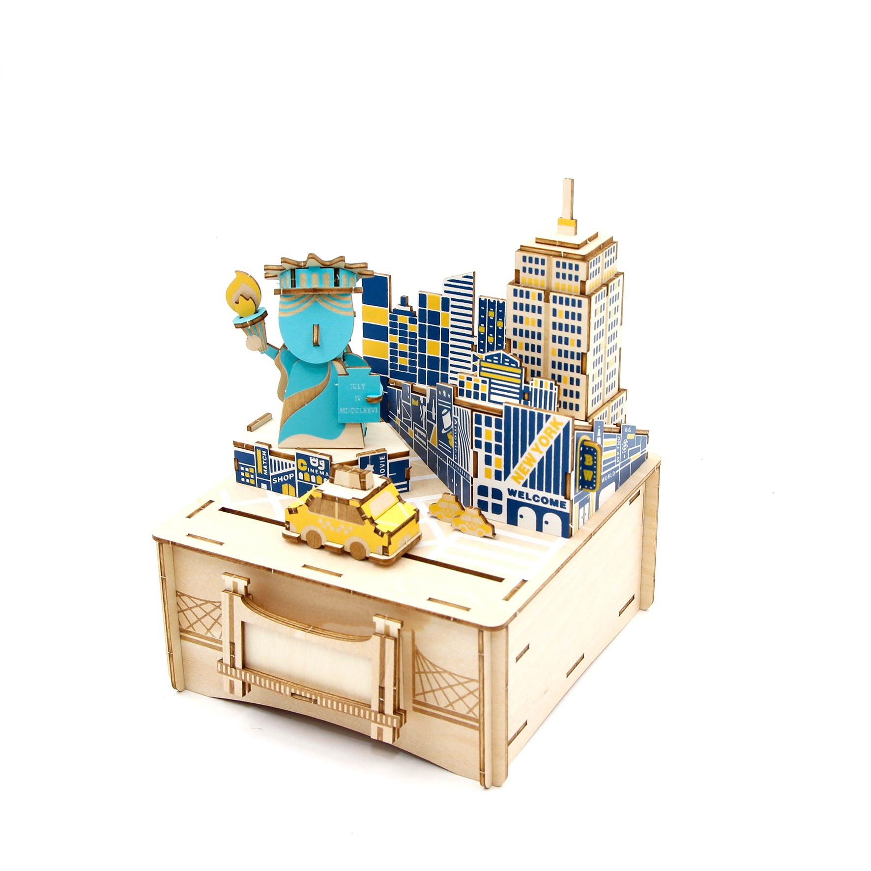 Puzzle 3D madera Jigzle – New York MB caja musical