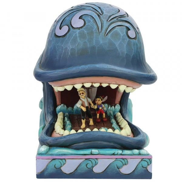 Disney Enesco Traditions Figur Jim Shore : Pinocchio Monstro mit Gepetto und Pinoccho Gepetto im Wal
