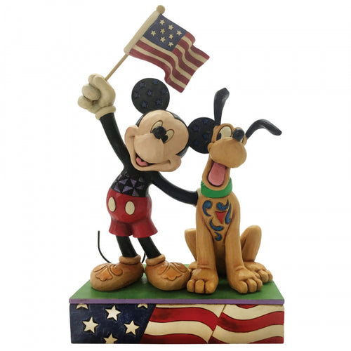 Disney Enesco Traditions Figur Jim Shore : Mickey & Pluto Patriot USA 6005975