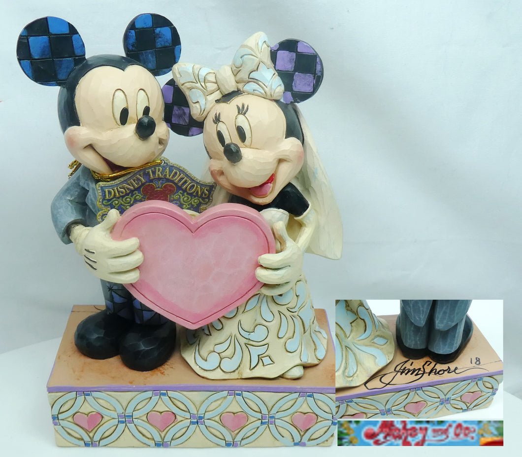 Disney Traditions Wedding Two Souls, One Heart Mickey and Minnie Mouse Statue mit Signatur