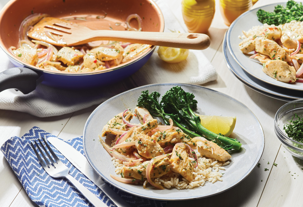 Chicken Scampi Over Rice
