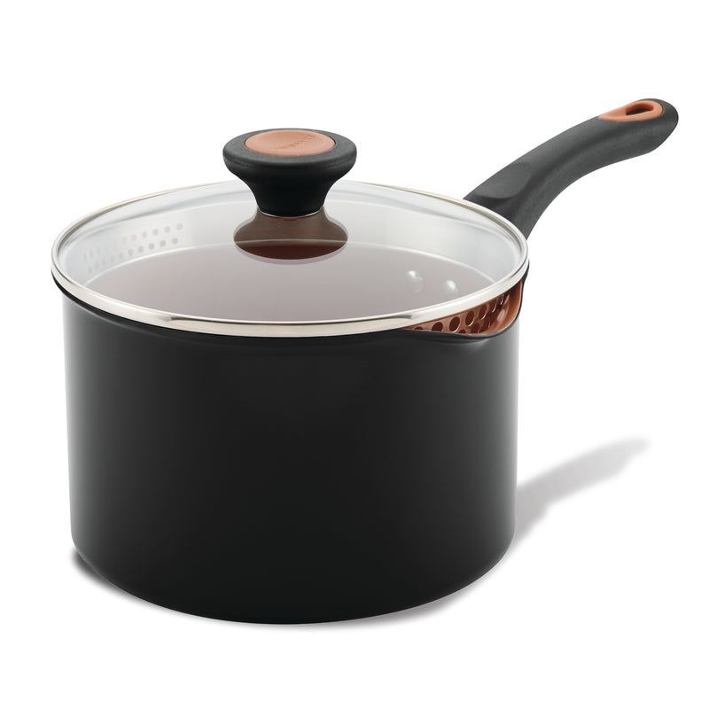 3-Quart Copper Ceramic Nonstick Straining Saucepan