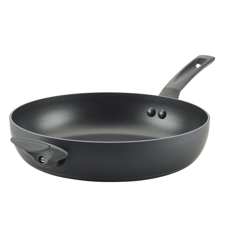 Farberware Easy Clean PRO Power Base Aluminum Nonstick Deep Skillet, 12.25-Inch, Matte Black, Side View, feature