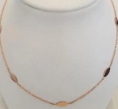 14k Pink Gold Oval Disc Necklace