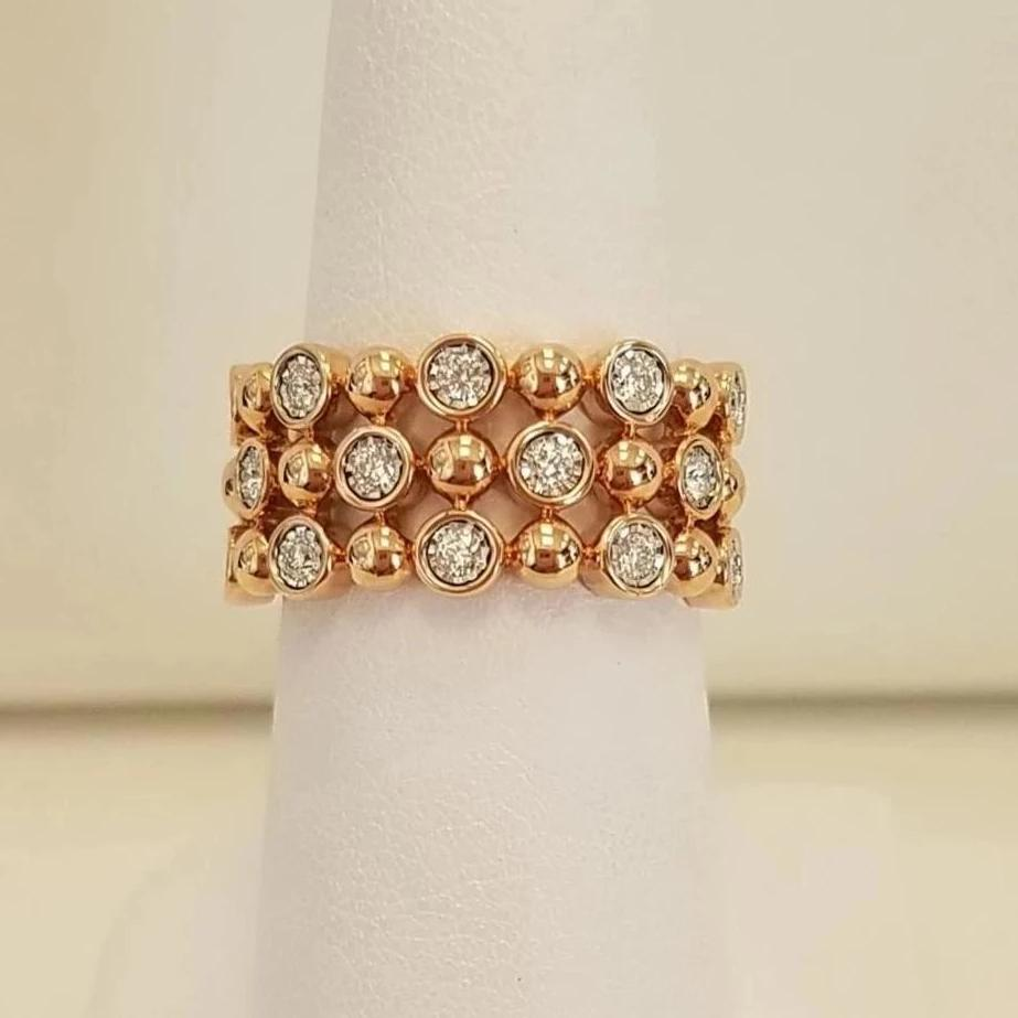 14k Pink Gold Diamond 3 Row Ring
