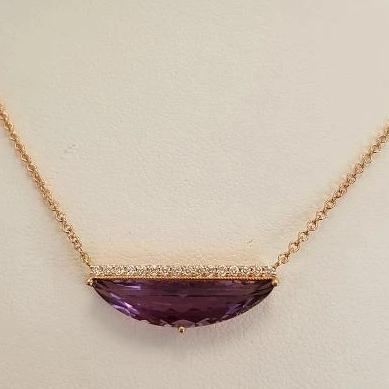 14k Pink Gold Amethyst Diamond Half Moon Necklace