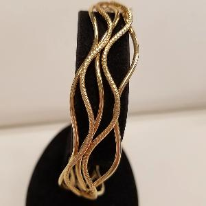 14k Yellow Gold Wavy Cuff Bracelet