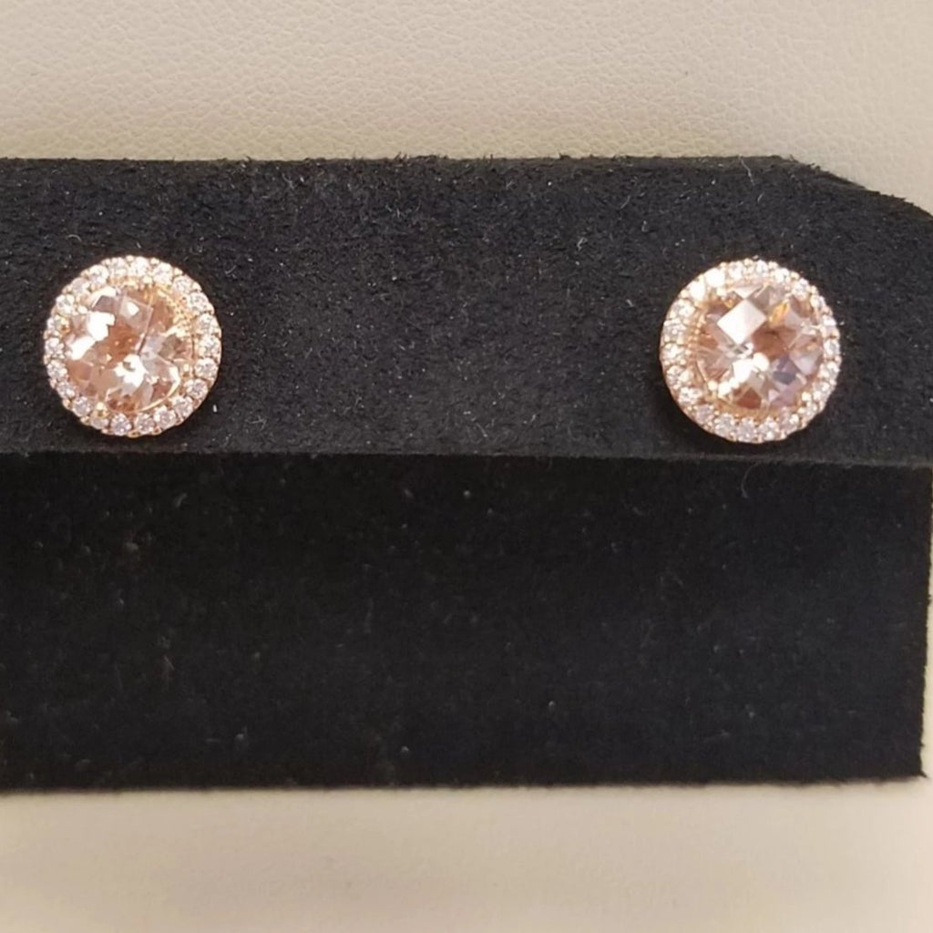 14k Pink Gold Round Morganite Earrings