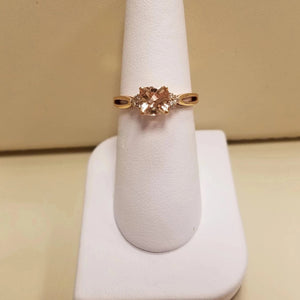 10k Pink Gold Morganite Diamond Ring