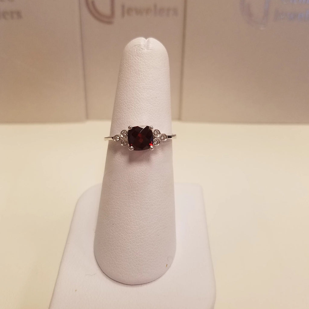 10k White Gold Garnet Diamond Ring - 60% OFF SALE