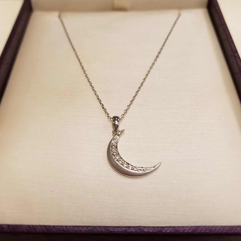 10k White Gold Crescent Moon Pendant