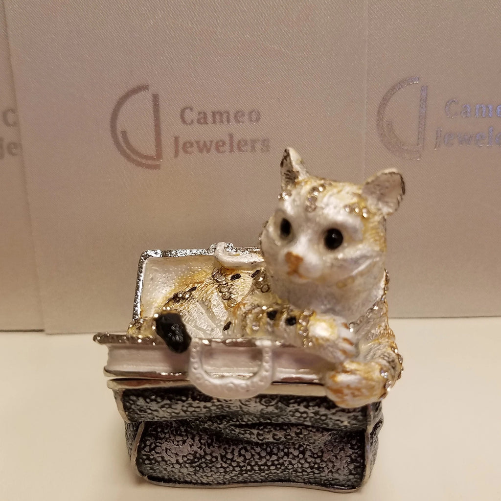 Bejeweled Trinket Box Cat In Purse