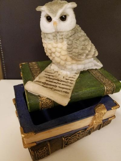 Bejeweled Trinket Box - Owl on Books