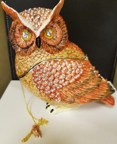 Bejeweled Owl Trinket Box