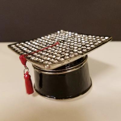 Bejeweled Grad Cap w/Red Tassel