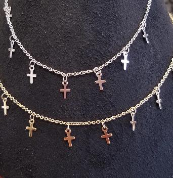 14k Yellow Gold Cable Necklace w/7 Tiny Crosses