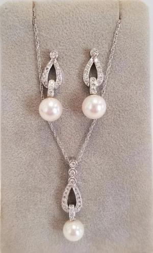 14k White Gold Diamond Pearl Drop Earrings & Necklace Set
