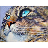 Broderie Diamant Chat Yeux Bleus Percants