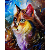 Broderie Diamant Chat Yeux Emeraude