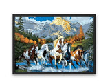 Broderie Diamant Chevaux Sauvages cadre
