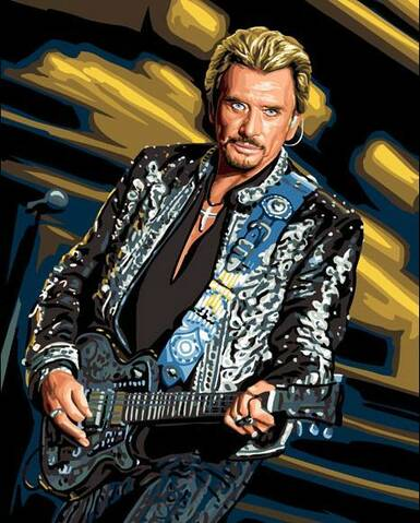 Broderie Diamant Johnny Hallyday Guitare