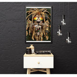 broderie diamant lion rasta decor