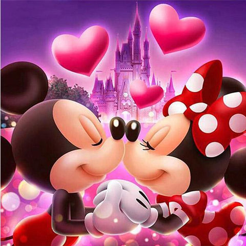broderie diamant mickey et minnie chateau disney