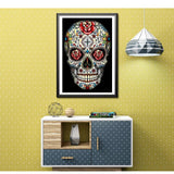broderie diamant tete de mort mexicaine decor