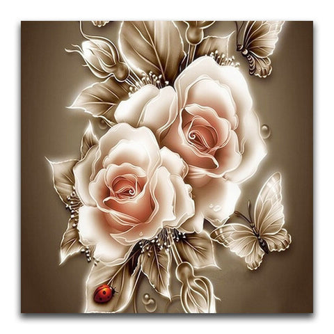 broderie diamant rose blanche