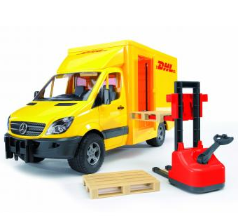 Bruder Mercedes Benz Sprinter DHL with hand pallet truck and 2 pallets