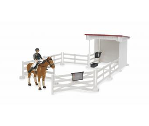 Bruder Little rider court with horse-woman, horse, saddle and bridle (coloursof clothes assorted)