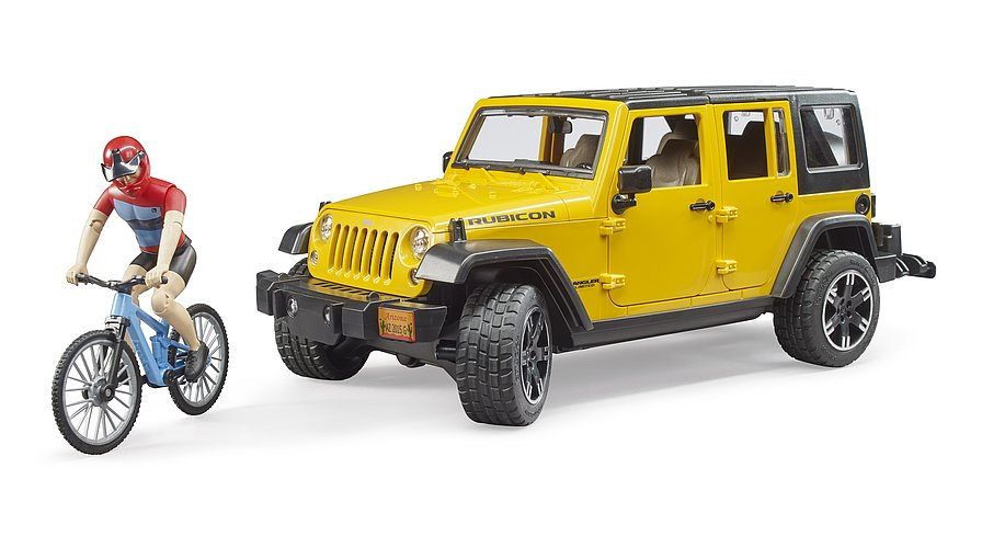 Bruder Jeep Wrangler Rubicon w. mountain bike and cyclist