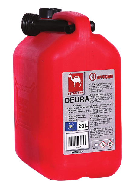 Deura 20L Plastic Petrol Can - Red