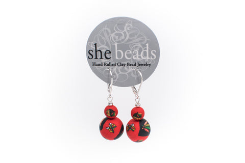 Blackhawks Large Bead All Clay Earrings