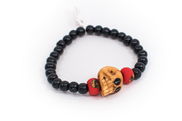 Blackhawks Skull Bracelet - Intention Beads | Astrology | Talisman