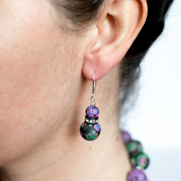 Iris Large Bead Crystal Earrings