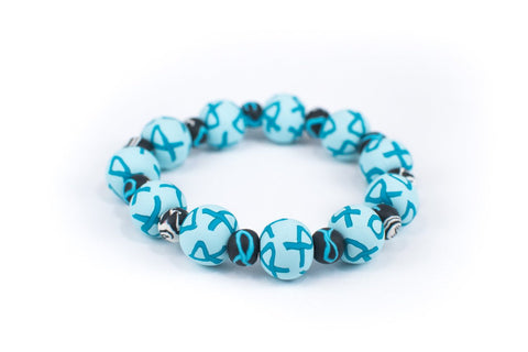 Ovarian Cancer Awareness Large Bead All Clay Bracelet