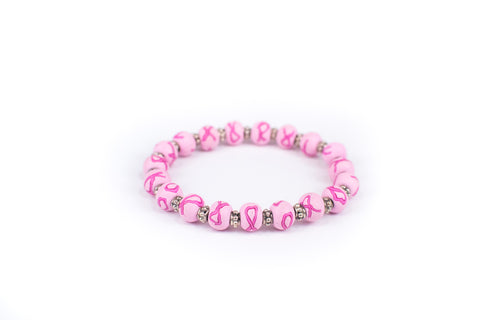Breast Cancer Awareness Small Bead Bali Silver Bracelet