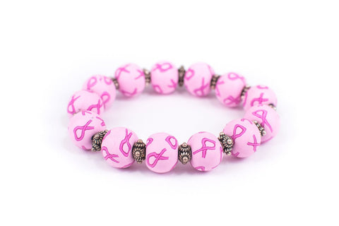 Breast Cancer Awareness Large Bead Bali Silver Bracelet